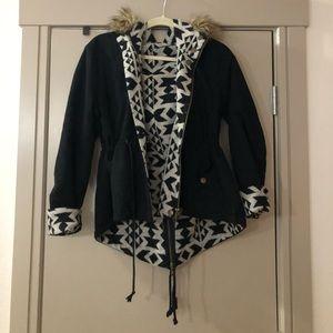 Jackets & Blazers - Reversible Coat with Faux Fur Hood